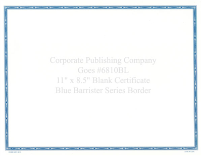Goes® 6810BL  Blue Barrister Certificates