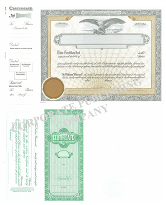Goes® 1075 Black- Gold Eagle Shares Text Stock Certificate