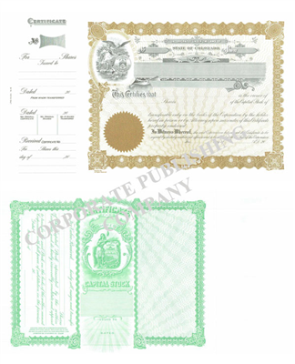 Goes® 090 Colorado Stock Certificates- Shares Each Capital Text