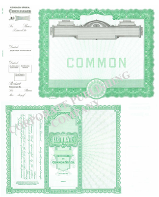 Goes® 1501 Green Common Notice Stock Certificate