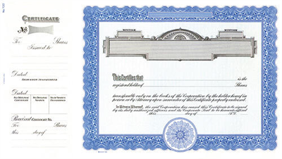 Goes® 720 Blue Panel Stock Certificates - Shares Text