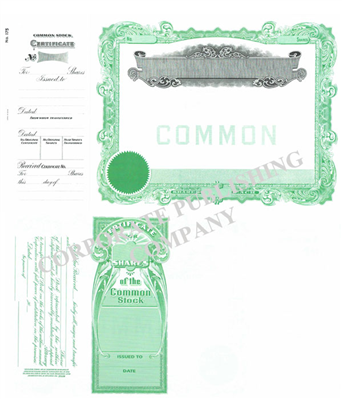 Goes® 175 Green No Text Stock Certificates