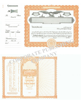Goes® 510 Orange Eagle Capital Text Stock Certificates