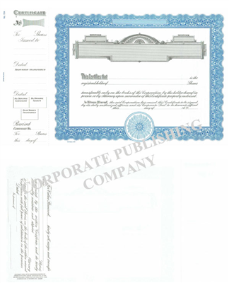 Goes ® 724 Blue Panel Shares Text Stock Certificate