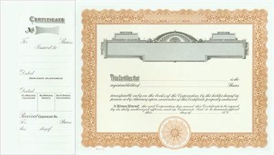 Goes® 721 Brown Panel Stock Certificates - Shares Text
