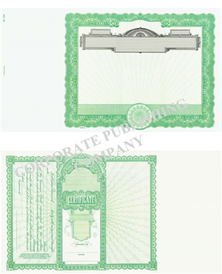 Goes® 506 Green No Text Panel Stock Certificate
