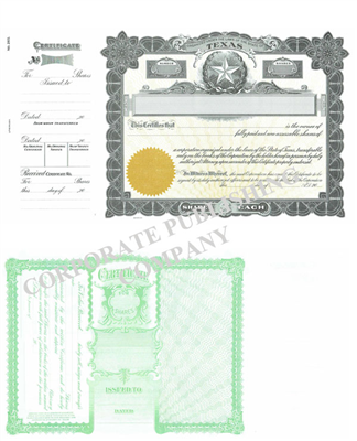 Goes® 265 Texas State Stock Certificate