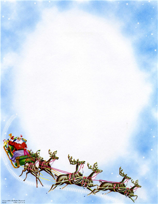 Santa On Sleigh With Reindeer And Clouds
