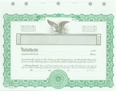 Goes® KG2 Green Corporate Stock Certificates
