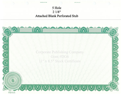 Goes® DG6 Green Corporate Certificates - No Text