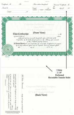 Goes® DG2 Green Corporate Certificates -Share Text