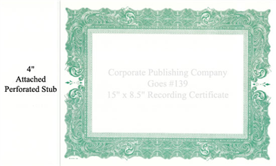 Goes® 139 Green Antique Certificate