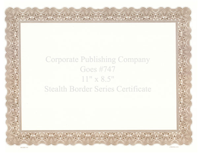 Goes® 747 Brown Stealth Certificates