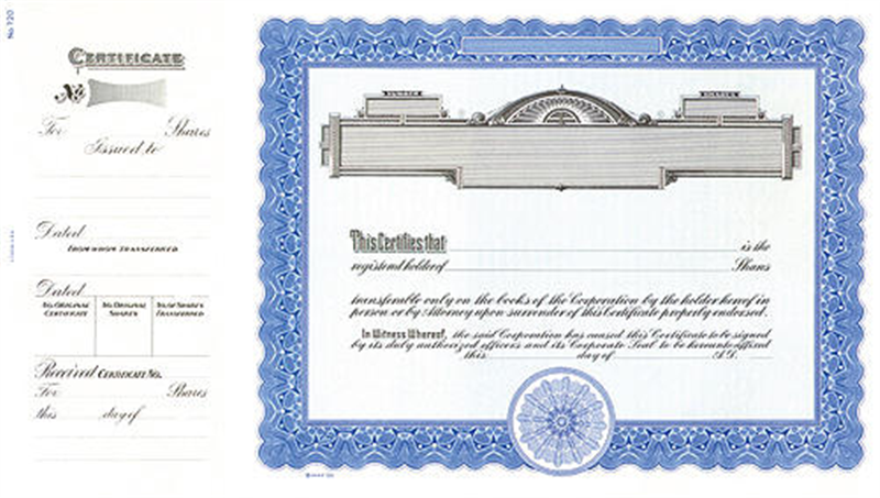 Goes 720 Blue Panel Stock Certificates Shares Text