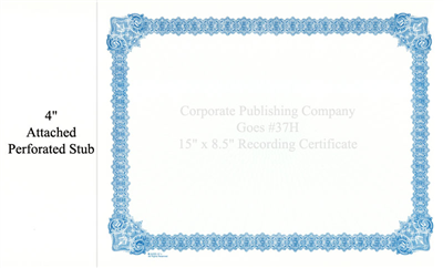 Goes® 37H Blue Medallion Certificate