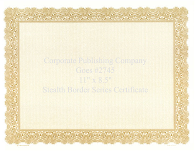 Goes® 2745 Laser Gold Stealth Certificates