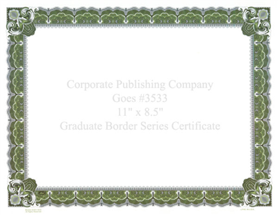 Goes® 3533 Green Graduate Certificates