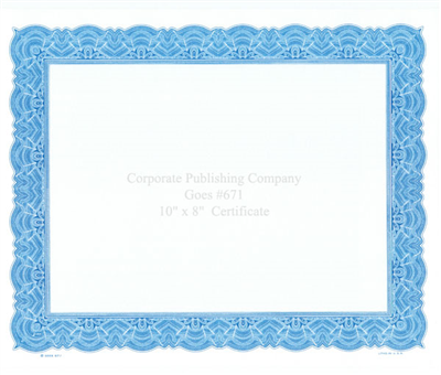 Goes® 671 Blue Big Border Certificates