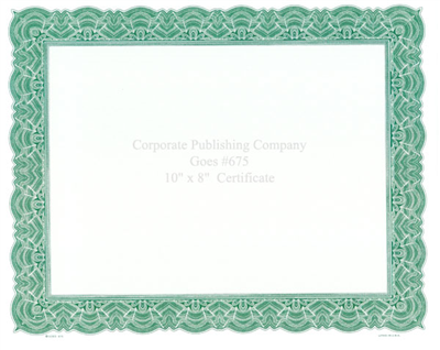Goes® 675 Green Big Border Certificates