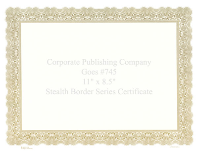 Goes® 745 Gold Bronze Stealth Certificates