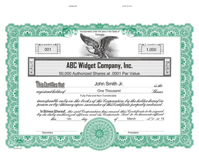 Corporate Publishing - Custom Goes KG2 Stock Certificate