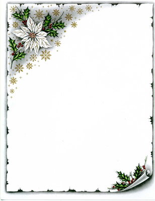 White Poinsettia and Scroll