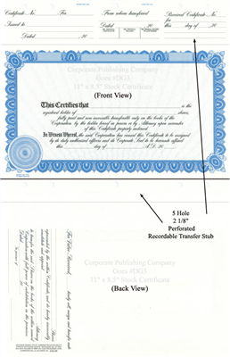 Goes® DG3 Blue Corporate Certificates
