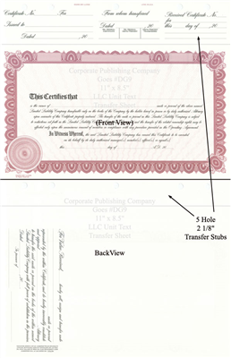 Goes® DG9 Maroon LLC Unit Text Certificates