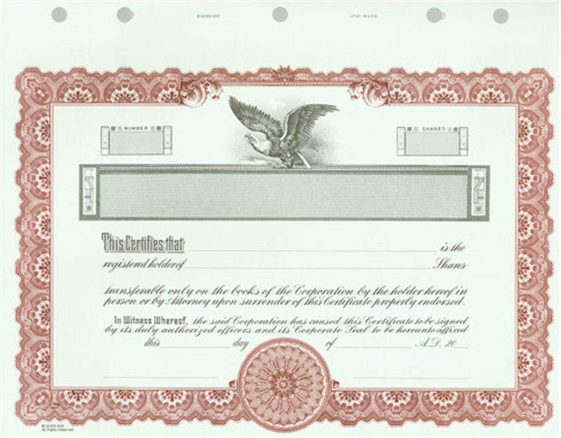 Custom Printed Goes KG5 Certificates