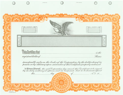 Goes® KG4 Orange Corporate Stock Certificates