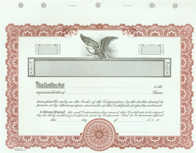 Goes® KG5 Maroon Corporate Stock Certificates