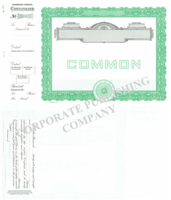 Goes® 1727 No Text Common Notice Stock Certificate