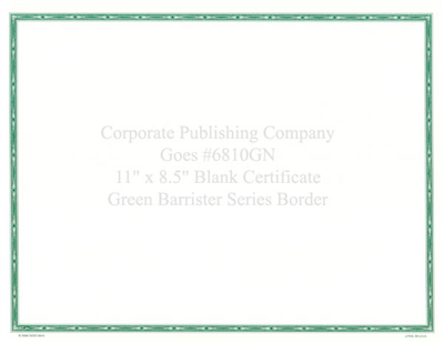 Goes® 6810GN  Green Barrister Certificates