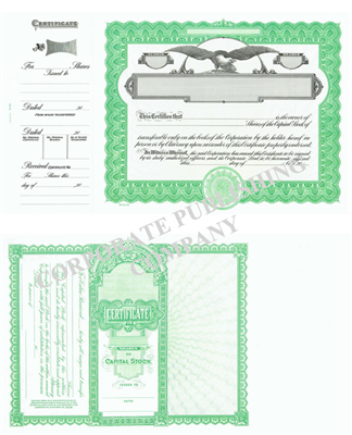 Goes® 509 Green Eagle Capital Text Stock Certificate