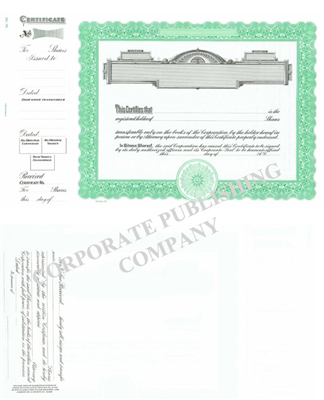 Goes® 725  Green Panel Shares Text Stock Certificate