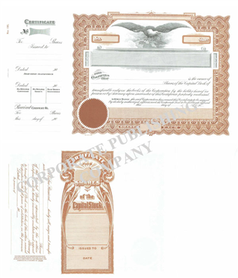 Goes® 195 Brown Capital Stock Certificates