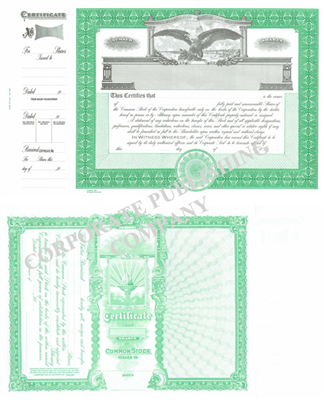 Goes® 1364COM  Eagle Common Stock Certificate