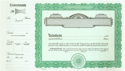 Goes® 722 Green Panel Stock Certificate Shares Text