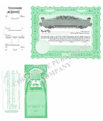 Goes® 133 Green Panel Capital Stock Certificates